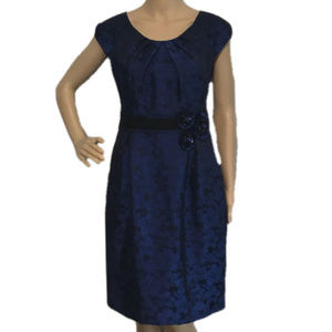 ELIZA J Rosette Jacquard Sheath Dress Blue 6